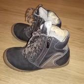 Коричневые зимние кожанные ботинки р. 32, стелька 20 см