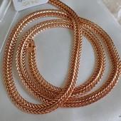 супер! шикарная широкая цепочка, оригинальное плетение 60 см, позолота 585 пробы