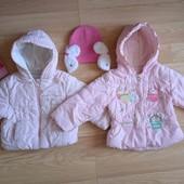 2 куртки осень/весна, 2 шапки, плащ для девочки на 1-2 года
