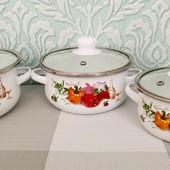 Набор глубоких эмалированных кастрюль с крышками А-плюс| Кастрюли белые с овощным декором| Каструля