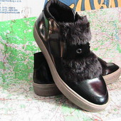 модные ботинки лаковые с мехом 39р Тамарис Германия