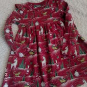 4 - 5 лет платье с новогодним принтом