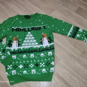 Primark 13-14л прикольный свитер Minecraft новогодний