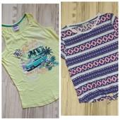 Комплектом. Шикарные фирменные футболка и майка девочке 10/12лет. Новое состояние.Без запаха.