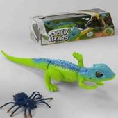 Ящерица на батарейках, с пауком, в коробке