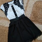 Одним лотом девочке для школы: блузка+юбочка, рост 130-140 см