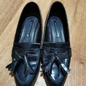 Темно-синие фирменные лоферы, туфли ZARA