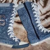 уп бесплатно Высокие кеды 21см стелька кроссовки котоновые модные сапожки сапоги
