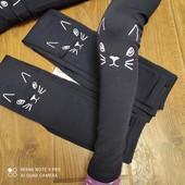 Якісні теплючі зимові лосини джегенси на меху з кошечкою на зріст 140-172см