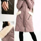 """Хит сезона❣Крутая зим.удлин.куртка-пальто""""МХ"""".пудра.манжеты.капюшон,карманы-варежки с мех.опушкой❤"""