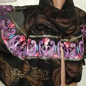 Роскошный красивенный новый нарядный широкий палантин Вышиванка с блеском и стразами 175/72 Акция