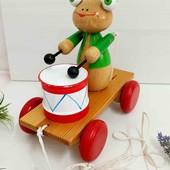 Жабка игрушка каталка деревянная винтажная