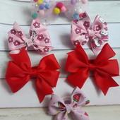 Бантики для дівчаток Рожево-червона ніжність, всі що на фото