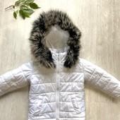 Куртка зимняя очень тёплая белая 92-98