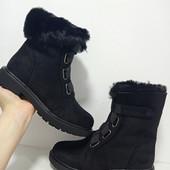 Зимние ботинки на липучке.Красивые и удобные,небольшой каблук